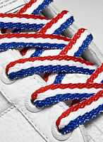 FLAT RED WHITE BLUE SHOE LACES LONG SHOELACES BOOTLACES - 10mm wide - 5 LENGTHS