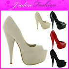 NEW LADIES STILEETO HIGH HEEL PEEP TOE PLATFORM COURT SHOES SANDALS SIZES UK 3-8