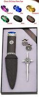 Tolles Geschenk: Kilt Pin Manschettenknöpfe & Sgian Dubh Keltisch Set
