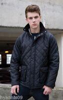 Mens Diamond Quilted/Padded Designer  Jacket/Coat Black size S, M, L,XL,2XL, 3XL