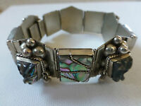 Vintage sterling silver Mexico abalone shell carved mask face inlay bracelet