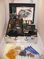 NEW PRO Tattoo Kit 4 gun Machine Kit Set Needles Grips Tube Tip Ink Power Supply
