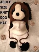 deLux DOG HAT Knit ADULT Brown FLEECE LINED animal costume men women cap beanie