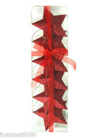 PACK OF 6 RED HANGING 3D GLITTER STARS CHRISTMAS TREE DECORATIONS 9CM BRAND NEW