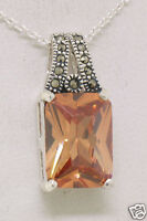 Marcasite Sterling Silver Rectangular Citrine Solitaire Pendant with Chain