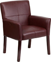 SET OF 2 BURGUNDY LEATHER BOX ARM GUEST RECEPT. OFFICE CHAIRS WITH MAHOGANY LEGS