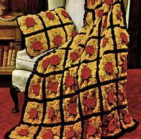 Vintage Crochet pattern-How to make a pretty flower throw,afghan & cushion