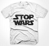 Mens Funny Jokes Tshirts, Stop Wars, White T-Shirt Various Sizes