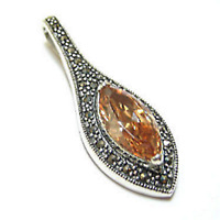 NEW PAVE Marcasite Sterling Silver Marquise Citrine Elongated Pendant w/ Chain