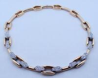 Designer David Webb 18K Yellow Gold & Platinum Diamond Necklace 14 1/2  inches