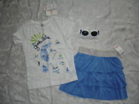 NICE Girls GYMBOREE GREEK ISLE STYLE Outfit TOP/SKIRT/SUNGLASSES Size 6 NWT