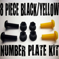 8 PIECE NUMBER PLATE BOLTS NUTS CAPS SCREWS MOTORCYCLE YELLOW BLACK