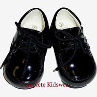 Boys Black Patent Lace up Baby Infant Shoes Wedding Pageboy Party Size 1 EURO 17