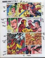 1991 Original Avengers Iron Man vs Wonder Man Marvel Comics color guide art page