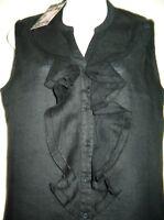Black Linen Top Blouse Mandarin Collar Sleeveless Button V Neck Ruffle 12 14 NEW
