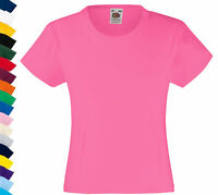 Fruit Of The Loom Childs Kids Girls Plain Cotton Female Fit Tee T-Shirt Tshirt