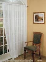 """Crushed Jacquard Voile Window Curtain Panel Drape 60x84"""" 2PCS White #8393"""