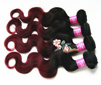 Virgin Malaysian Human Hair Weave ombre 1b burgundy body wave hair extension 100