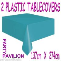 2 Teal Carribean Blue Rectangular Plastic Disposable Party Table Cloths Covers