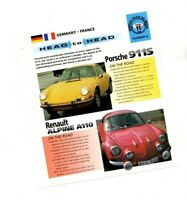 Porsche 911  vs. Renault Alpine A110 Road Test Brochure