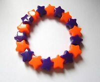 Kitsch Neon Orange & Purple Plastic Star Bead Elastic Bracelet Retro Emo Goth