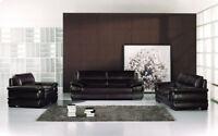 Modern dark brown leather sofa loveseat chair set couch