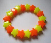 Kitsch Neon Orange & Yellow Plastic Star Bead Elastic Bracelet Retro Emo Goth