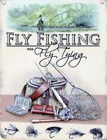 New 15x20cm FLY FISHING & TYING vintage enamel style tin metal advertising sign