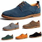 New Mens Dress Casual Flats Shoes Oxfords Wing Tip Suede Leather Lined Lace Up