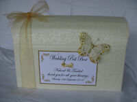Beautiful ivory diamante wedding post box with/without decoration various colour