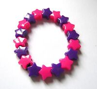 Kitsch Neon Pink and Purple Plastic Star Bead Elastic Bracelet Retro Emo Goth