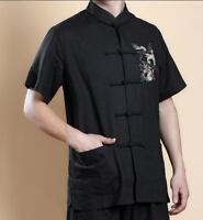 New Short Sleeve Chinese Men's Kung Fu T-Shirt Tops Black Jacket Coat Sz:M-XXL