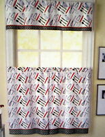 Cutlery Red Black White Fork Knife Spoon 36L Tiers Valance Kitchen Curtains Set