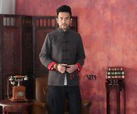 Men's China Two-Face Jacket Kung Fu Coat Fleece Tang Suit Size S M L XL XXL XXXL