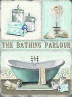 New THE BATHING PARLOUR vintage enamel style tin metal advertising sign 30x40cm