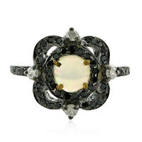 Memorial Gift Opal Black Pave Diamond Gold Sterling Silver Midi Ring Jewelry