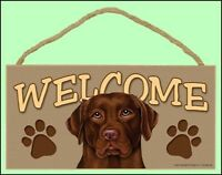 "Chocolate Lab Dog 10"" x 5"" Wooden Welcome Dog Sign New!"