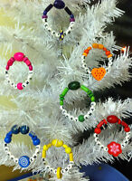 Merry-Xmas Tree-Decorations-Handmade-Wooden Beads-any Colour-Rainbow-Candy-Green