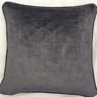 2 X 16 Inch Cushions And Inners In Laura Ashley Villandry Charcoal Velvet Fabric