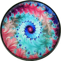 """1"""" Crystal Dome Button Mystical Spiral #34 -- Gorgeous! FREE US SHIPPING"""