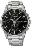 Seiko SNAF03 Men's Stainless Steel Black Dial Alarm Chronograph Watch