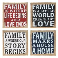 hessian plaque wall hanging family sign quote shabby chic vintage retro gift