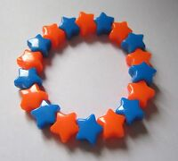 Kitsch Neon Orange & Blue Plastic Star Bead Elastic Bracelet Retro Emo Goth