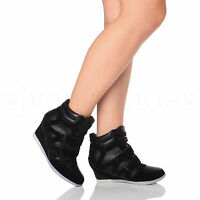 WOMENS LADIES HIGH WEDGE HEEL HOOK&LOOP LACE UP HI TOP TRAINERS ANKLE BOOTS SIZE