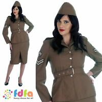 40s WW2 ARMY SOLDIER WARTIME ADULT- UK 8-26 - womens ladies fancy dress costume