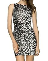Ex Topshop Black Beige Animal Printed Bodycon Pencil Mini Dress Size 6 8 10