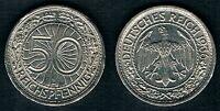 Weimar, 50 Reichspfennig 1936 E, Nickel