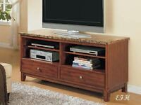 NEW BOLOGNA MARBLE TOP CHERRY FINISH WOOD TV CENTER STAND CABINET