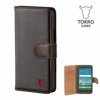 TORRO HTC One M9 & HTC One M8 Leather Wallet Case. Premium Italian Leather.