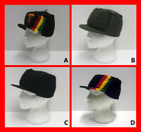 Rasta - Bob Marley - Plain - Stripe - Military Peak Ribbed Beanie Cap Hat